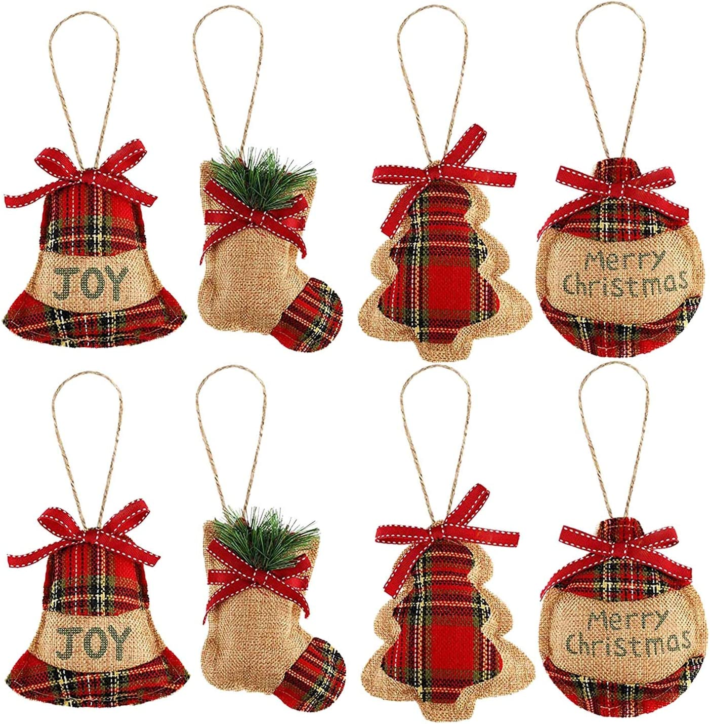 L 8 Pcs Christmas Tree Ornaments Xmas Hanging Decorations: Christmas Stocking, Ball, Tree and Bell (4 Styles) for Christmas Holiday Party Home Decor