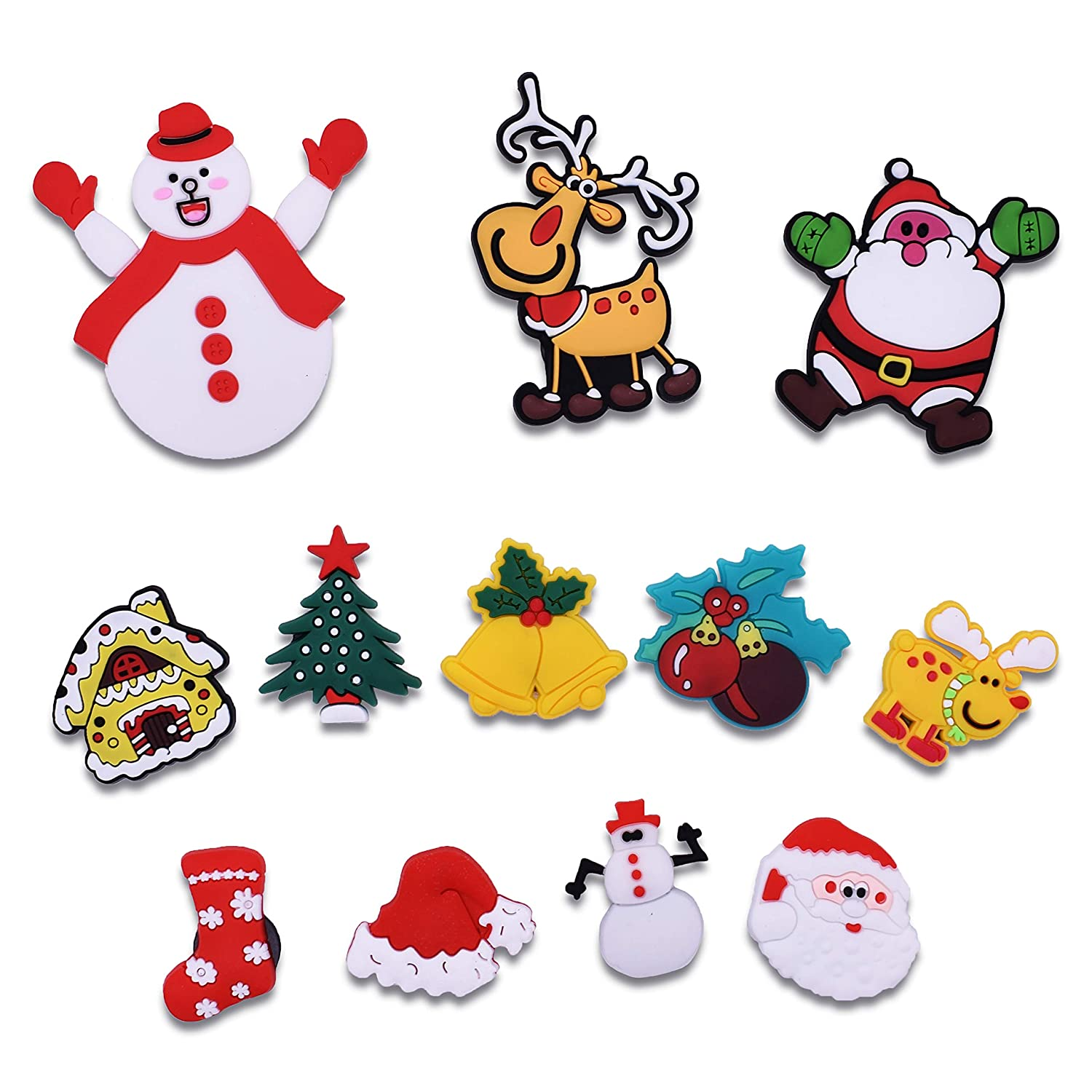 XHAOYEAHX Christmas Stant Claus Christmas Tree Socks Deer Snowman Bell Magnets Refrigerator Fridge Magnetic Funny Stickers Home Decor for Refrigerator Office Cabinets Whiteboards Photo Decorative12PCS