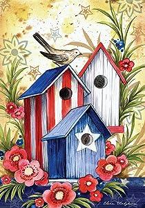Toland Home Garden Birdhouse Trio 28 x 40 Inch Decorative Colorful Patriotic Summer July 4 USA Bird House Flag
