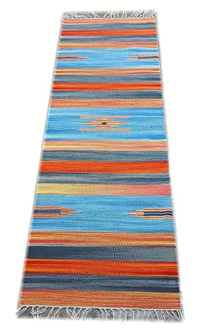Srj Handmade Multi Colour Cotton Yoga, Runner Rug - Dhurrie 2 × 6ft.