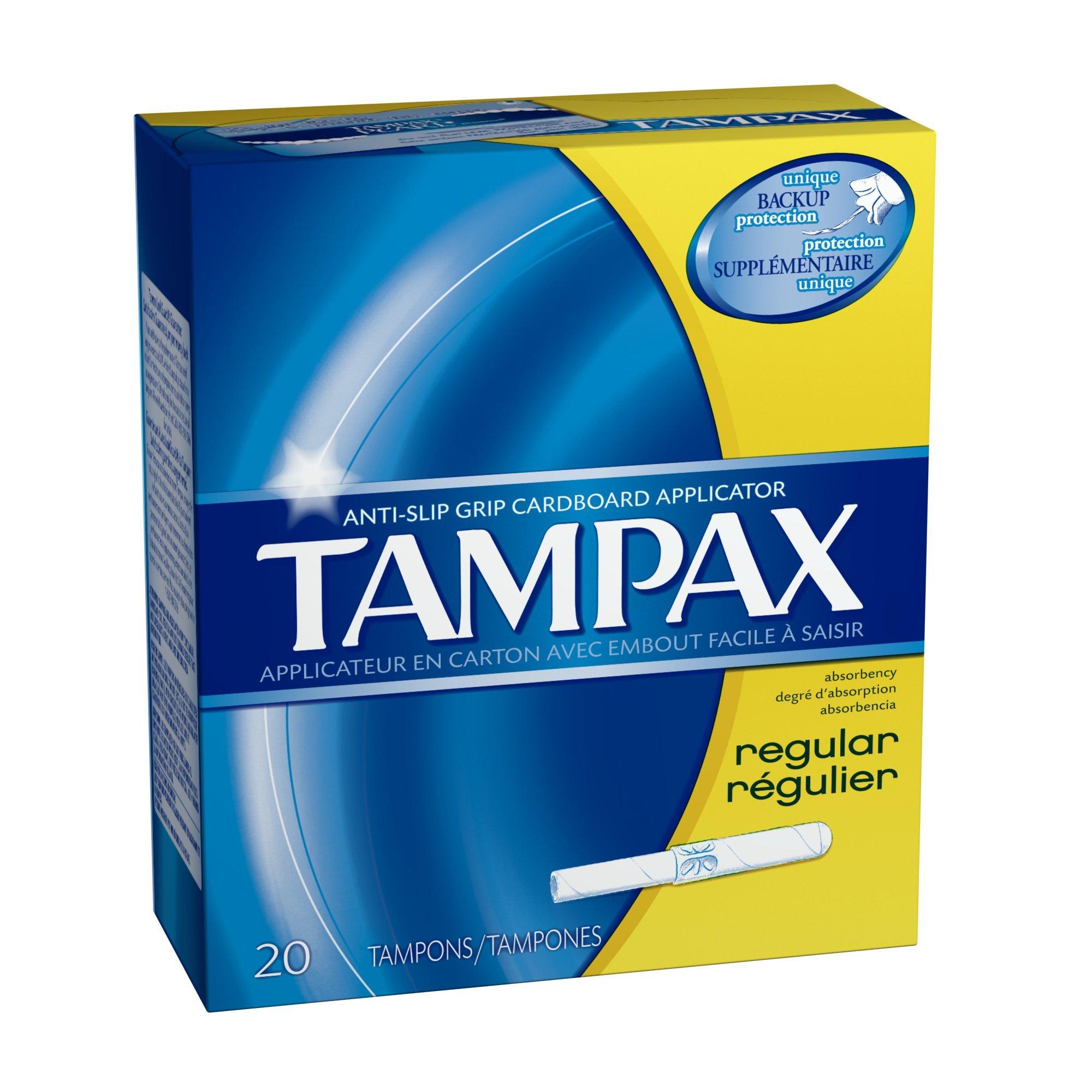 Tampax Cardboard Applicator, Regular Absorbency Tampons 20 CT (Pack of 18)