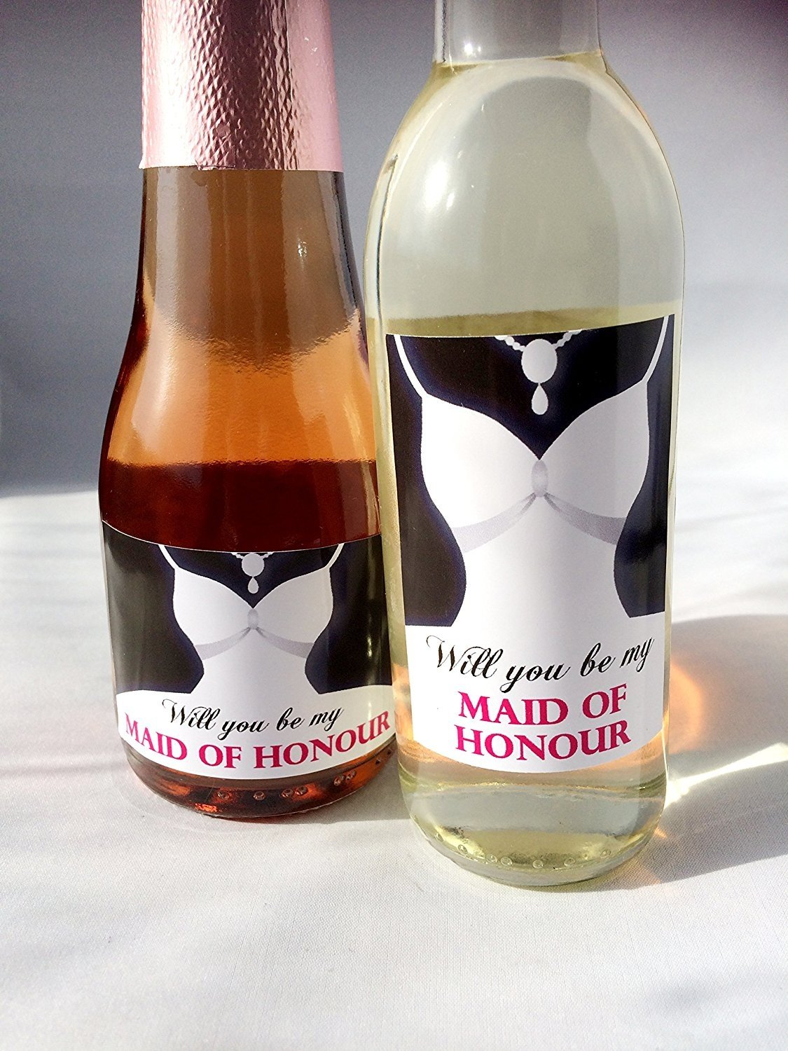 Will you be my Maid of Honour Mini Labels for Mini Wine & Mini Champagne/Prosecco Bottles. (MINI CHAMPAGNE) Purple Products