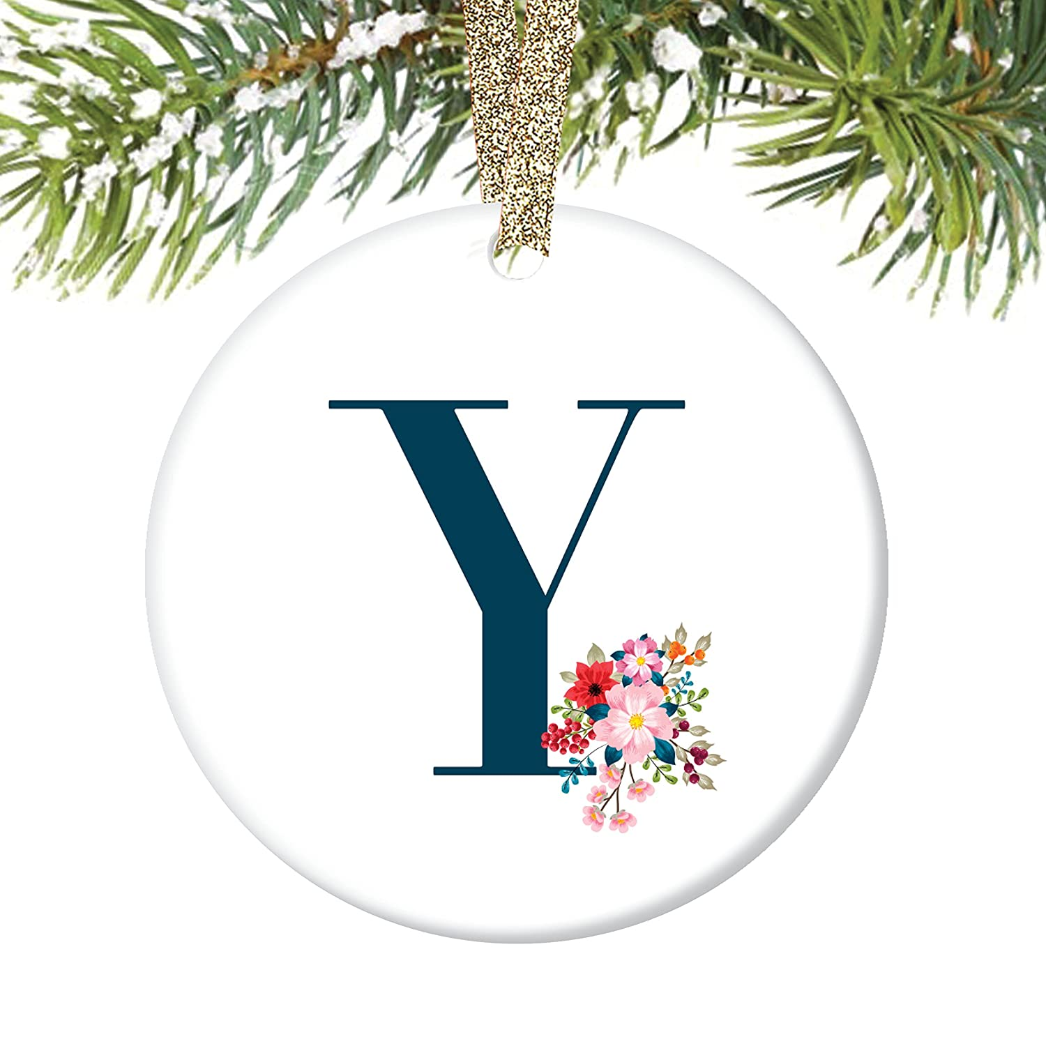 Amazon.com: Y Initial Ornament, Letter Y Name \
