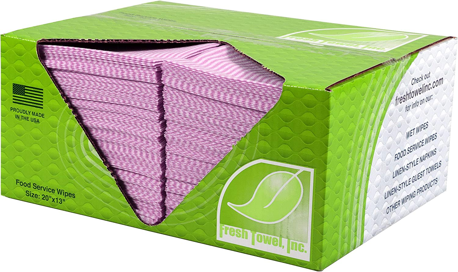 Fresh Towel Foodservice Reusable Paper Towels - 1/4 Fold, 13 x 20 inches - Pink Straight Line Pattern (1 Case of 200) All Purpose Cleaning Towels