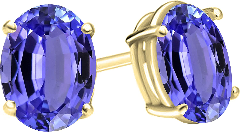 14K Amarillo Oro 7x 5mm ovalado Gemstone Ladies solitario Stud Pendientes