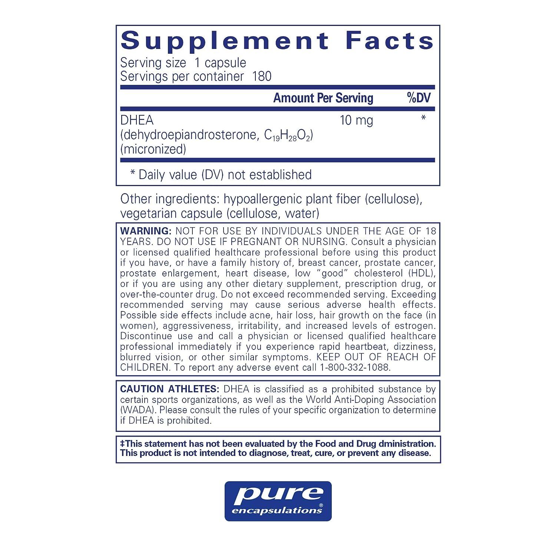 Pure Encapsulations - DHEA (Dehydroepiandrosterone) 10 mg - Micronized  Hypoallergenic