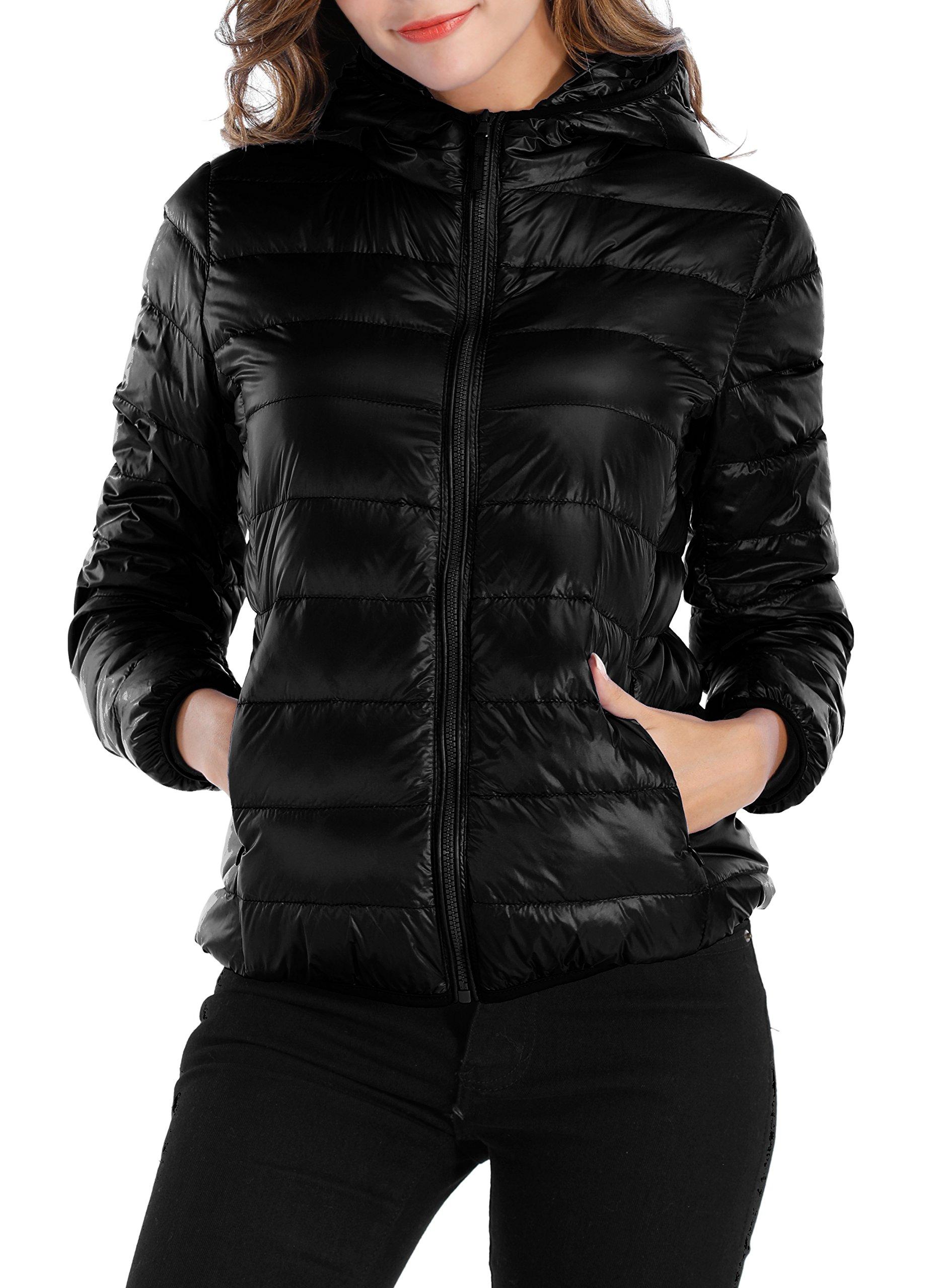 Sarin Mathews Womens Packable Ultra Lightweight Down Jacket Outwear Puffer Coats Black S
