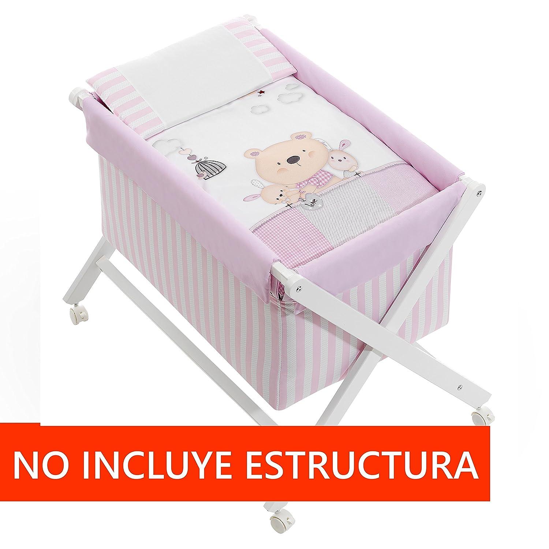 Minicuna mibebestore Plegable Blanco//Rosa Osito: Estructura Vestidura Almohada Colcha Desenfuntable Colch/ón