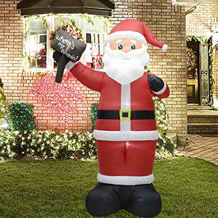 fashionlite 8 feet christmas xmas inflatable placard santa claus lighted blow up yard party decoration