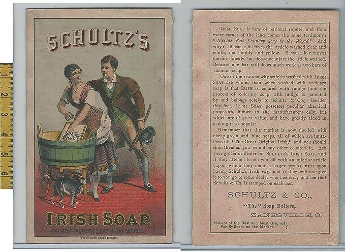 Victorian Card 1890s Schultz Irish Soap Zanesville Ohio Cat