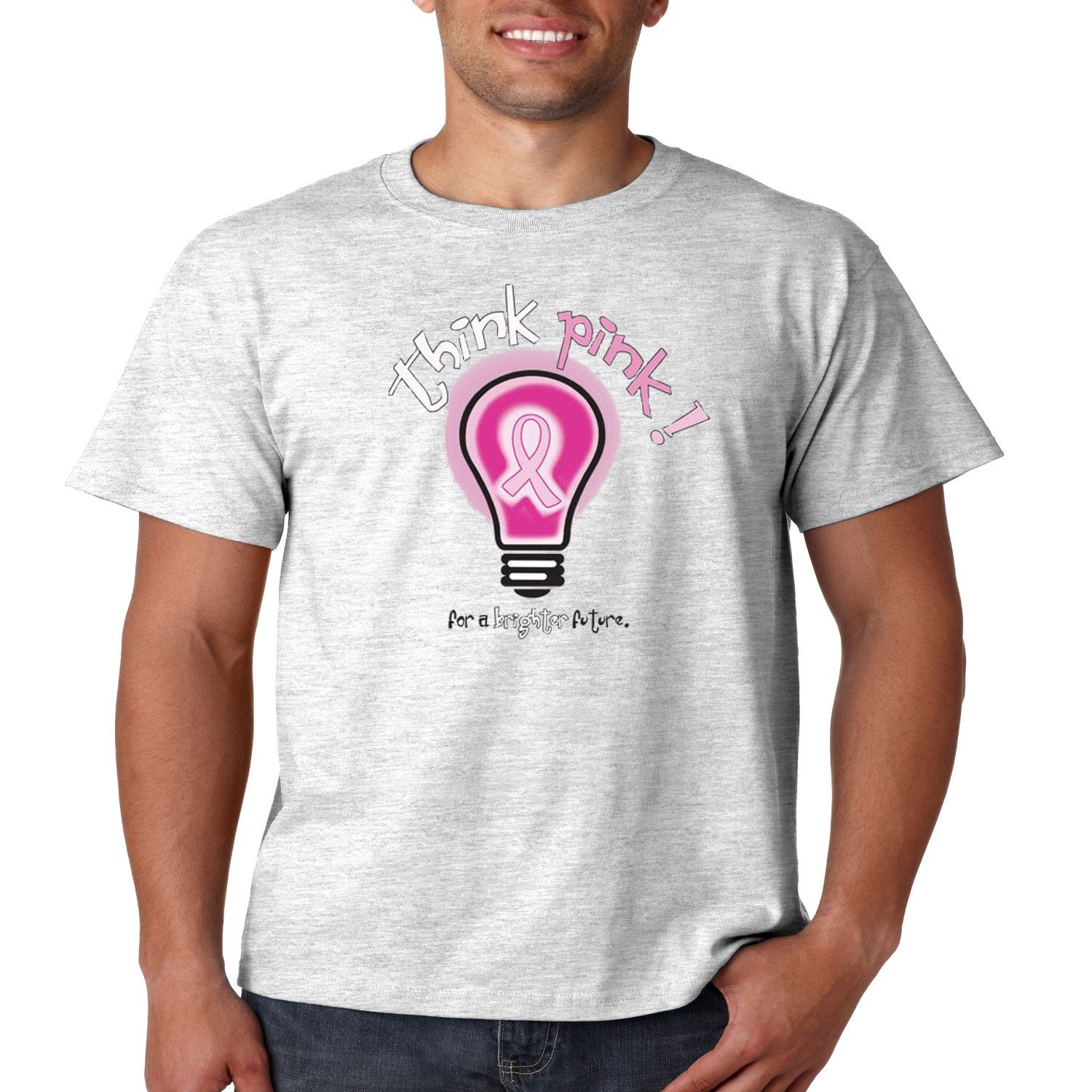 Breast Cancer T Shirt Think Pink For A Brighter Future Pink Ribbon Mens Tee S-5XL