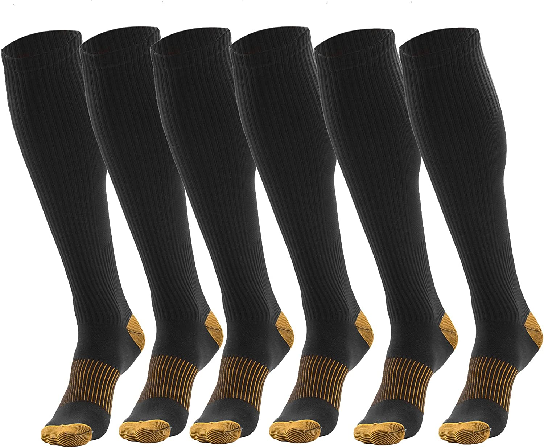 3 Pairs Black Compression Socks For Men - Copperfit Compression Socks for Men One Size Fits All : Clothing