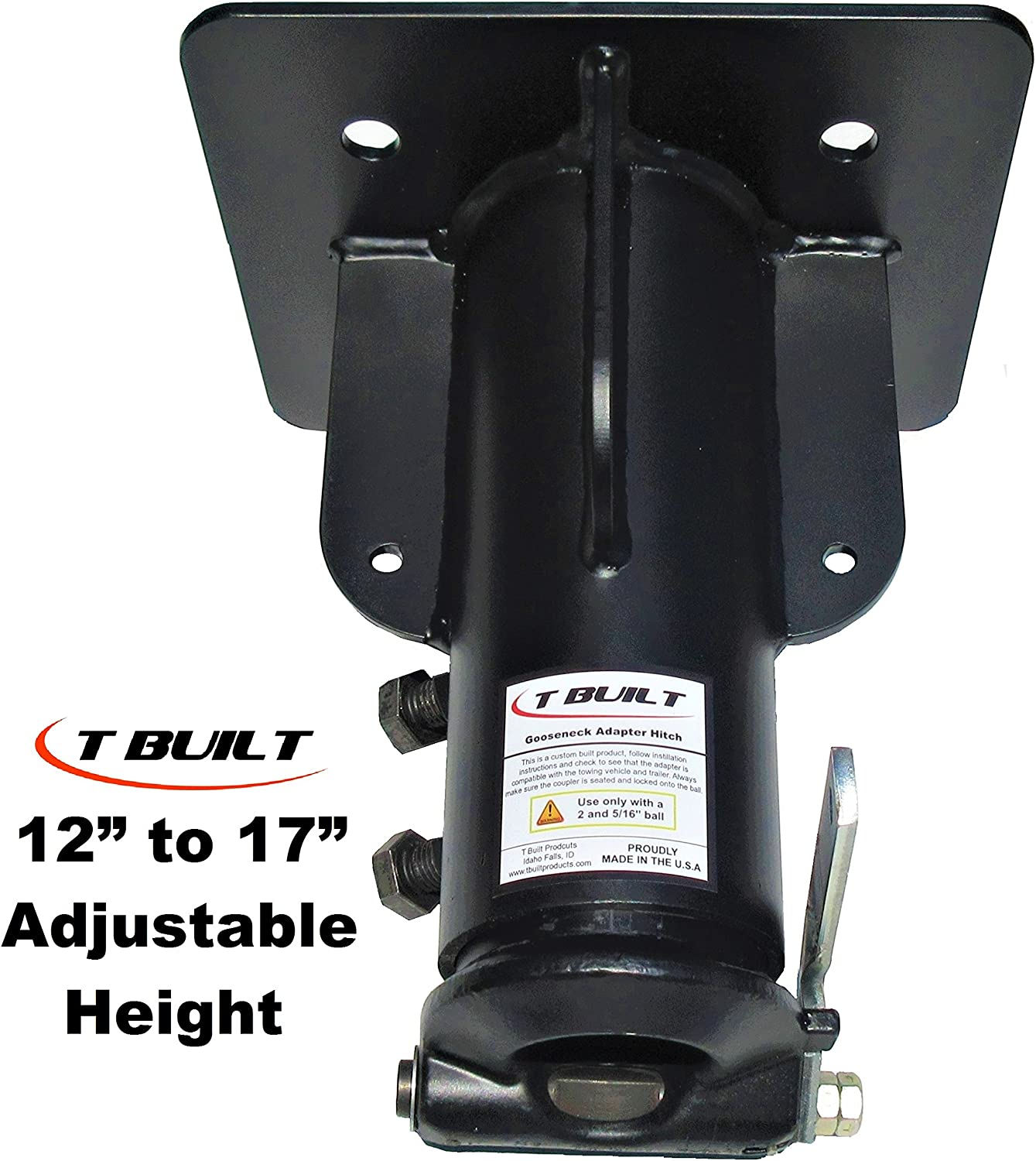 "T Built 12""-17"" Adjustable 5th Wheel RV to Gooseneck Adapter Hitch"