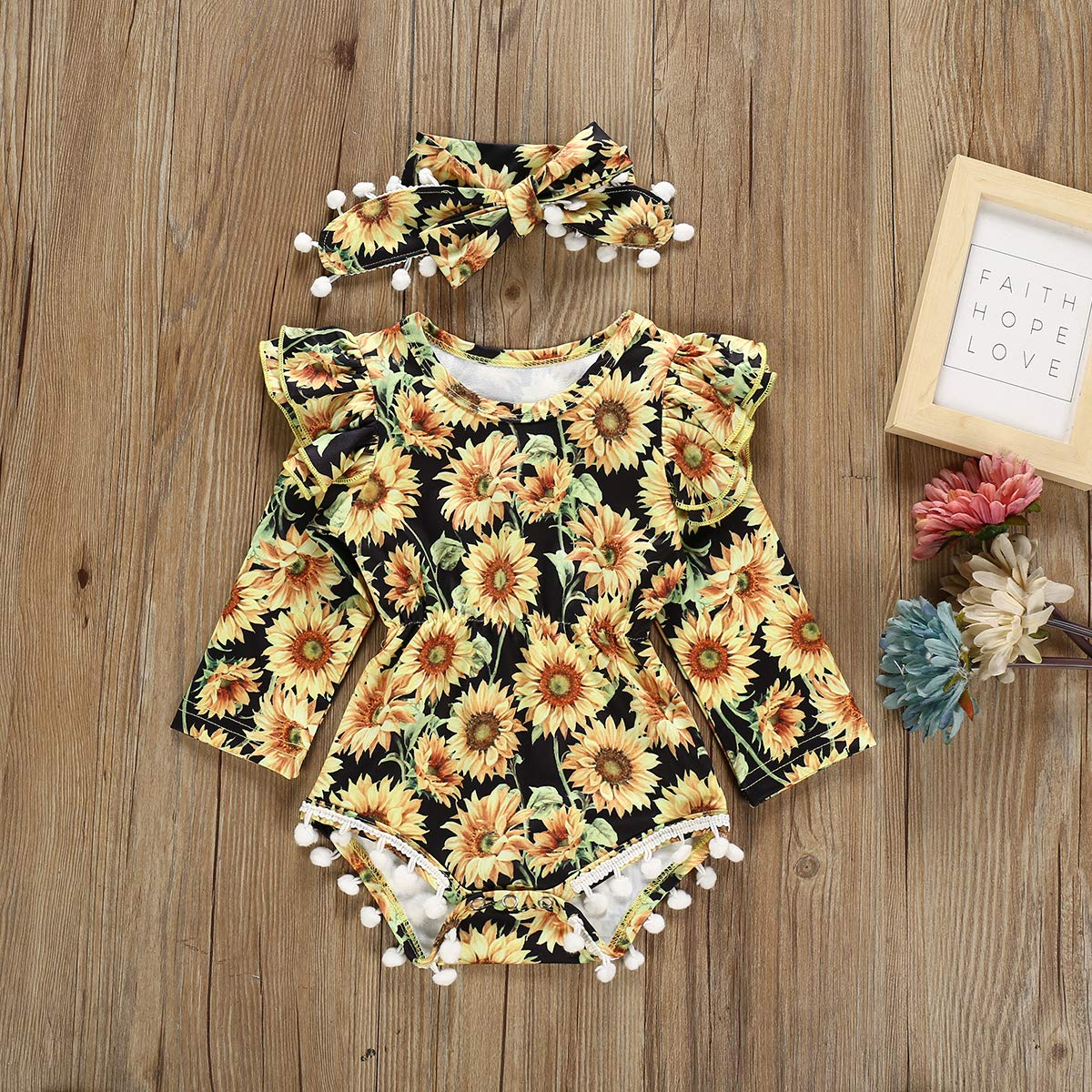 Infant Baby Girls Floral Romper Sunflower Ruffle Tassel Bodysuit Long Sleeve with Headband Clothes