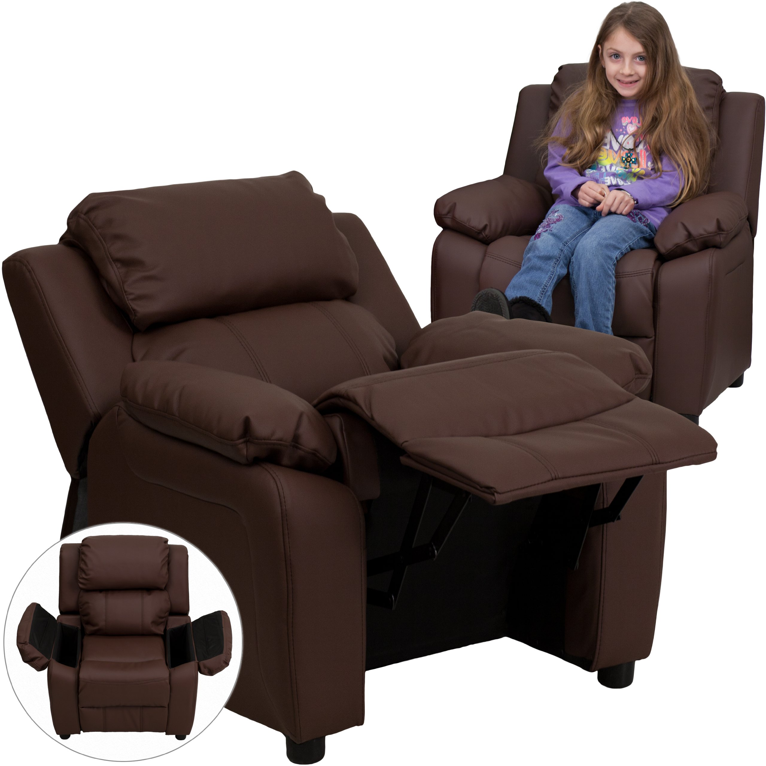 Winston Direct Kids' Series Deluxe Padded Contemporary Brown Leather Recliner with Storage Arms