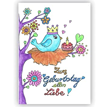 Geburtstagskarte Zum Geburtstag Alles Liebe Vögelchen Baby 1