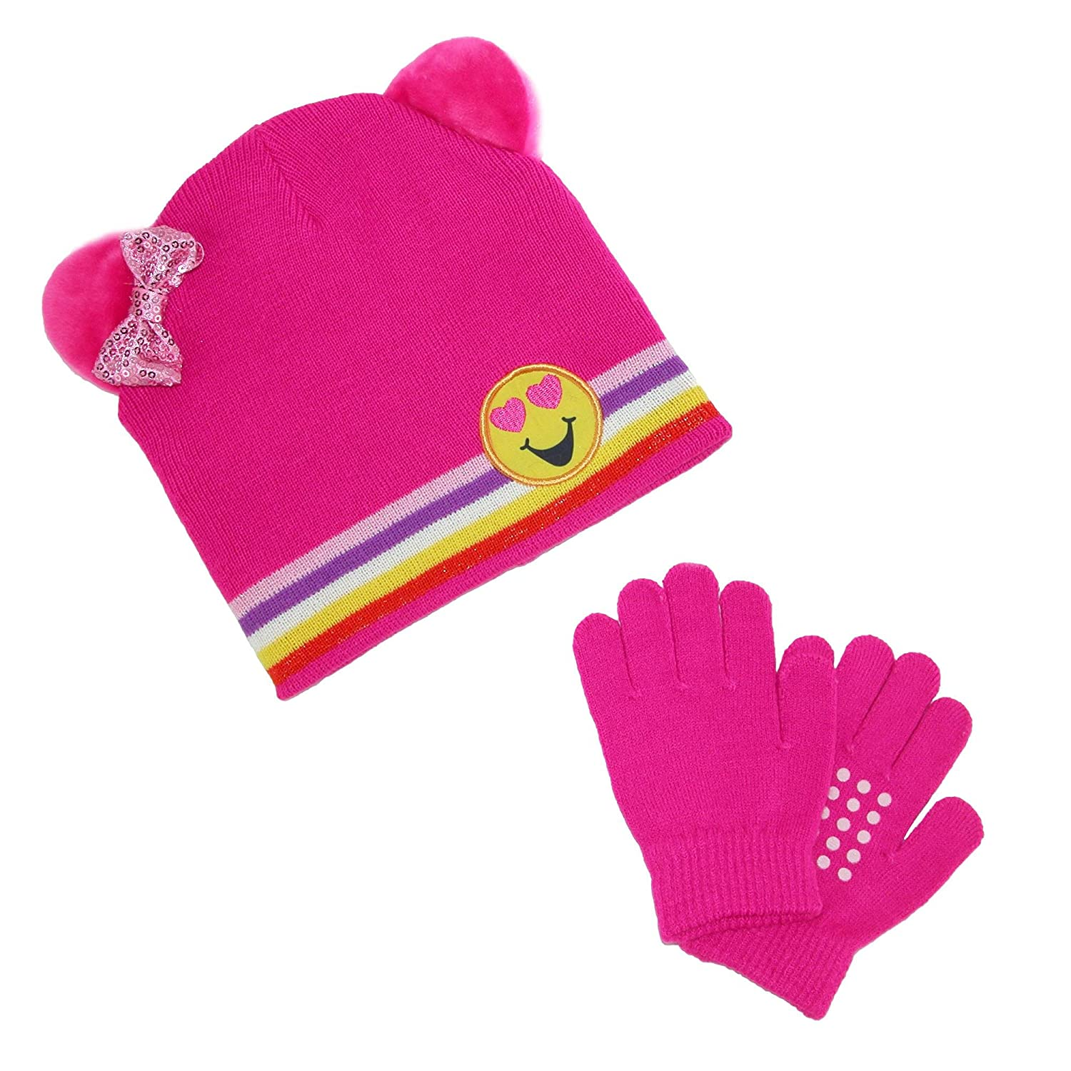 CTM® Girl's Emoji Hat with Grip Gloves Set, Pink GM-KG114-PNK