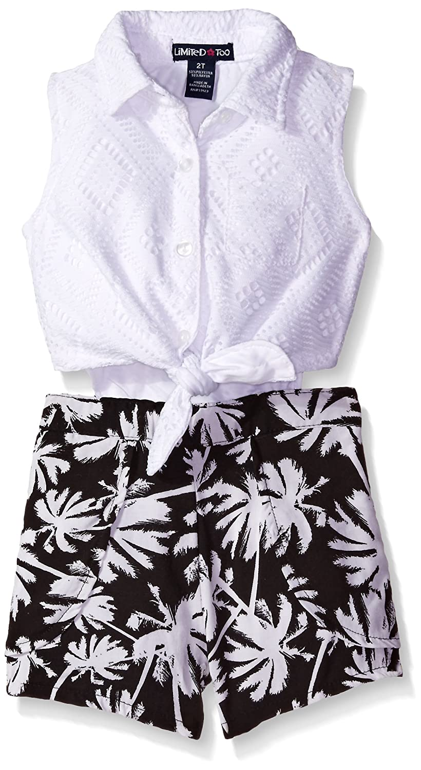 Limited Too Baby and Girls' Solid Lace Sleeveless Top and Palm Trees Print Romper White 4 PE94