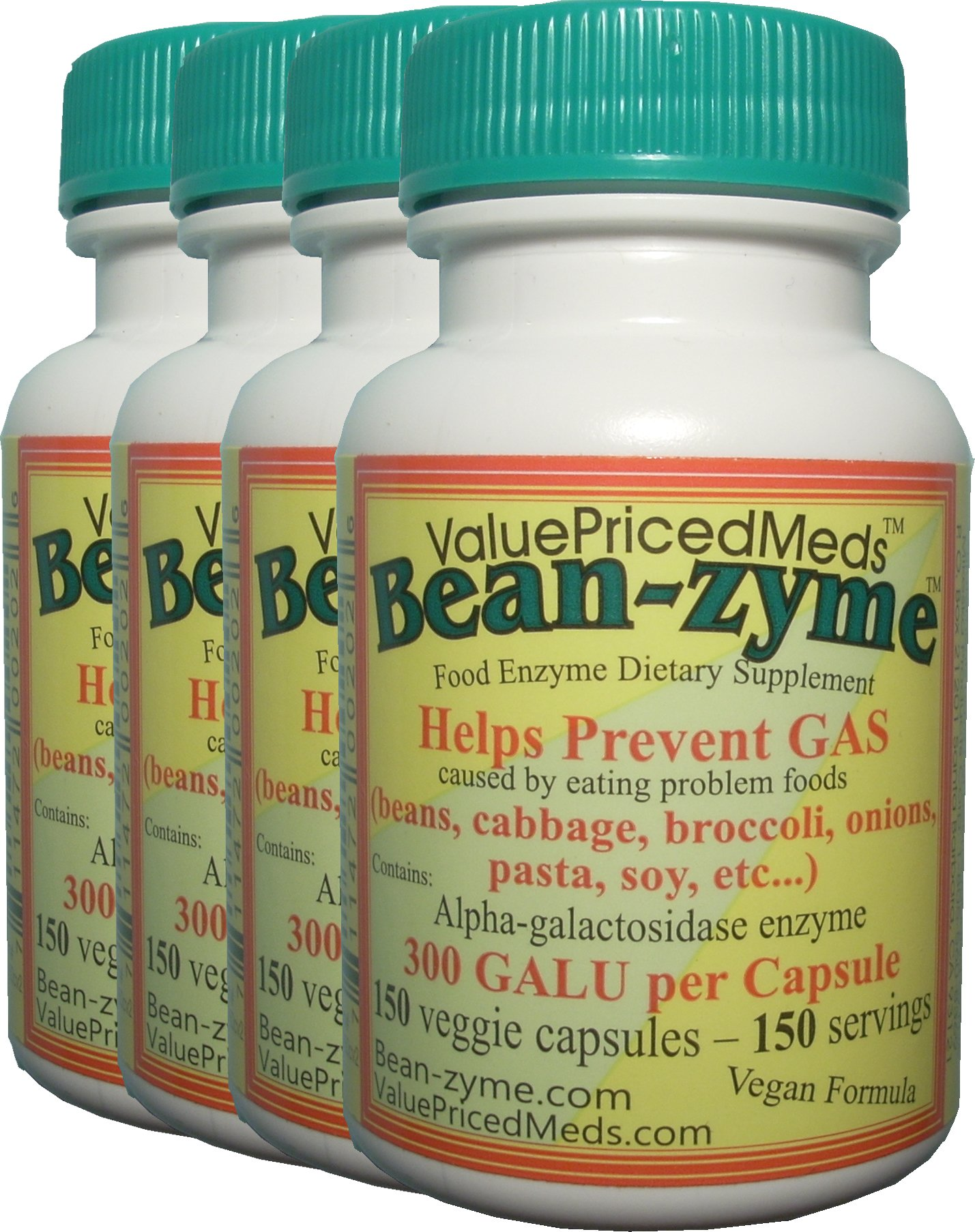 Bean-zyme VEGAN anti-gas 150 Capsules per bottle 4 Pack (600 capsules total). 300 GALU/cap compare to Beano 150 GALU/cap by ValuePricedMeds