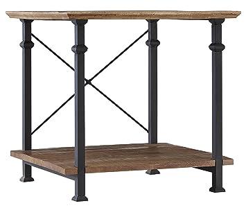 Homelegance Factory Modern Industrial Style End Table, Rustic Brown