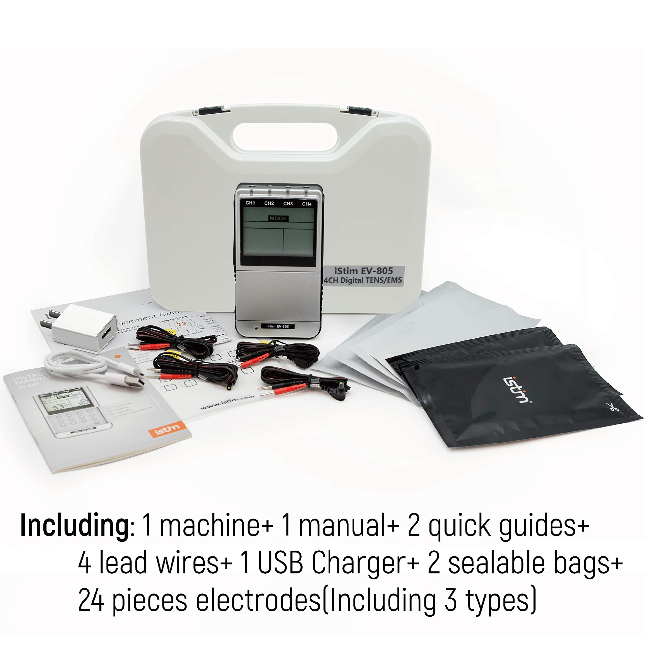 iSTIM EV-805 TENS EMS 4 Channel Rechargeable Combo Machine Unit - Muscle Stimulator + Back Pain Relief and Management- 24 Programs/Backlit (Including Electrodes Pads) by iSTIM (Image #5)