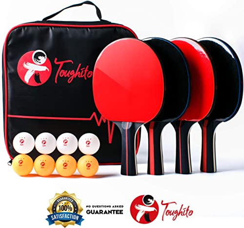 TOUGHITO Pro Ping Pong Paddle Set – Premium Ping Pong Paddles Set of 4 with 2mm Imprint Free Rubber, 8 ITTF Standard Ping Pong Balls Bag – Superior Table Tennis Paddle Side Strip for Protection