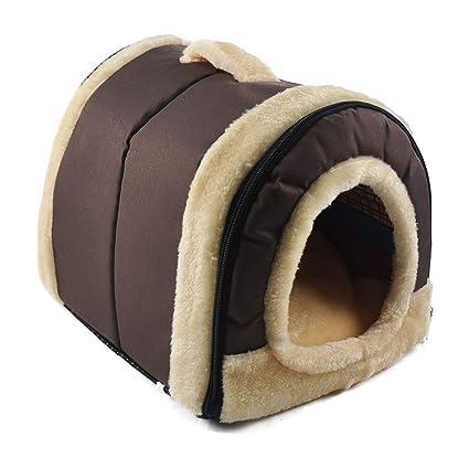 ANPI 2 en 1 Casa y Sofá para Mascotas, Marron Lavable a Máquina Casa Nido