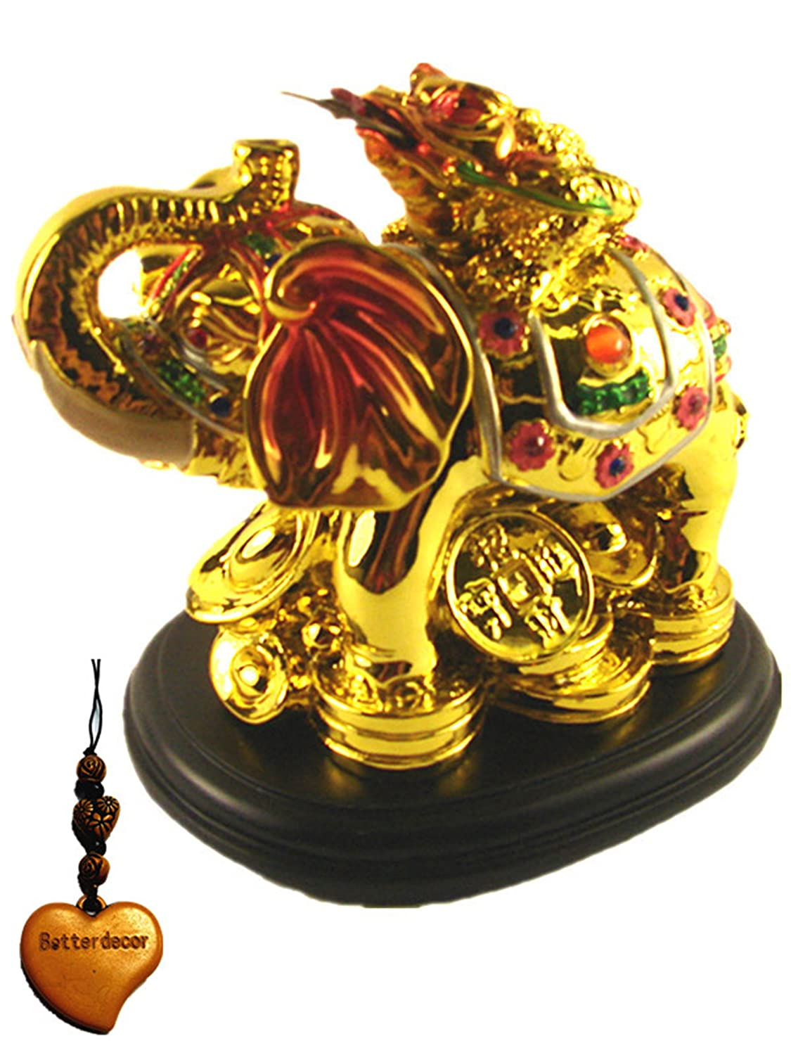 Amazon feng shui money frog toad on elephant to attract amazon feng shui money frog toad on elephant to attract wealth with betterdecor gift charm home kitchen biocorpaavc Images