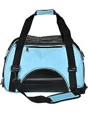 Large Pet Travel Bag Airline Approved Soft Sided Portable Single Shoulder Tote Carrier Bag Travel Hiking Car Seat (Blue,L)