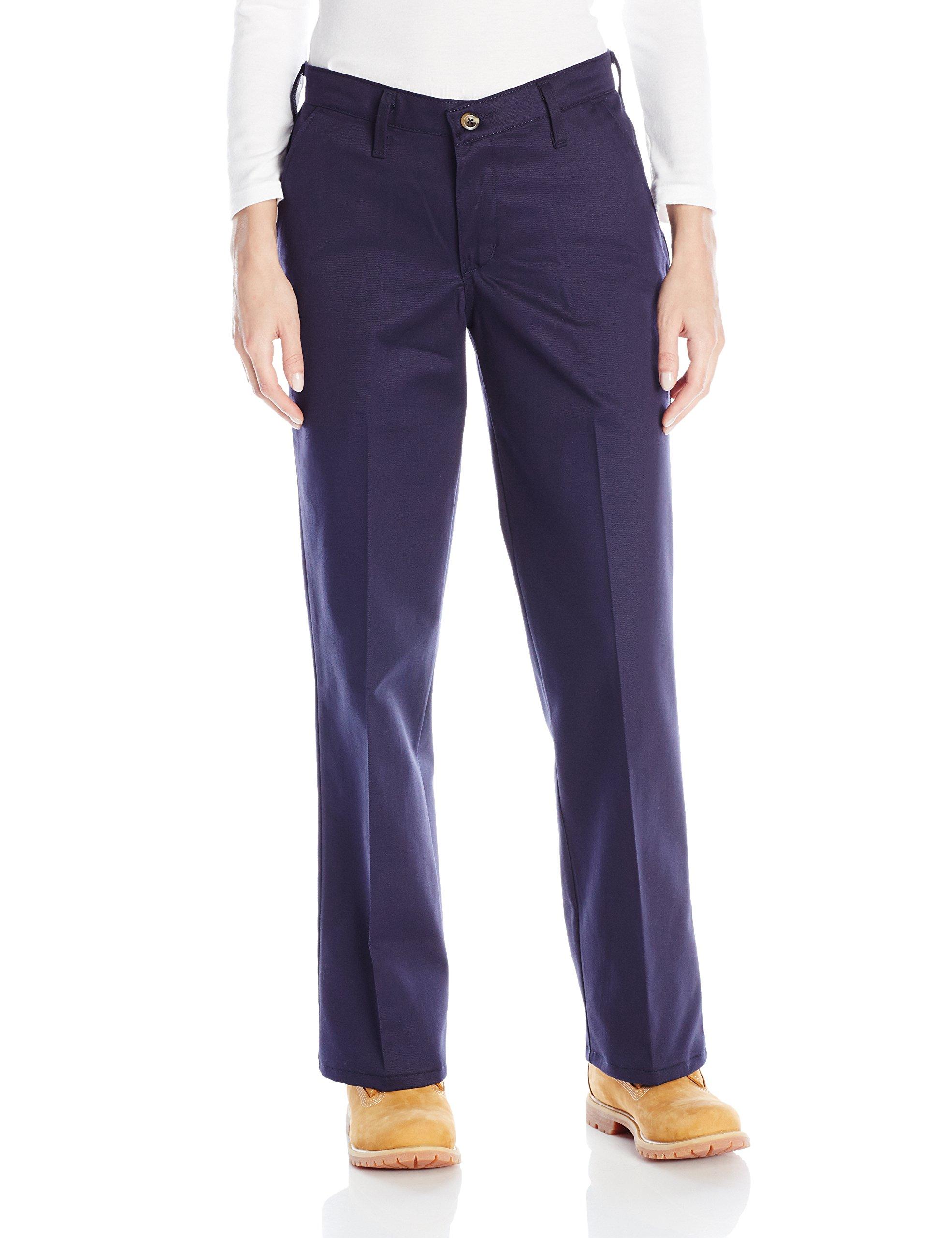 Red Kap Women's Plus Size Plain Front Cotton Work Pant, Navy, 22x32
