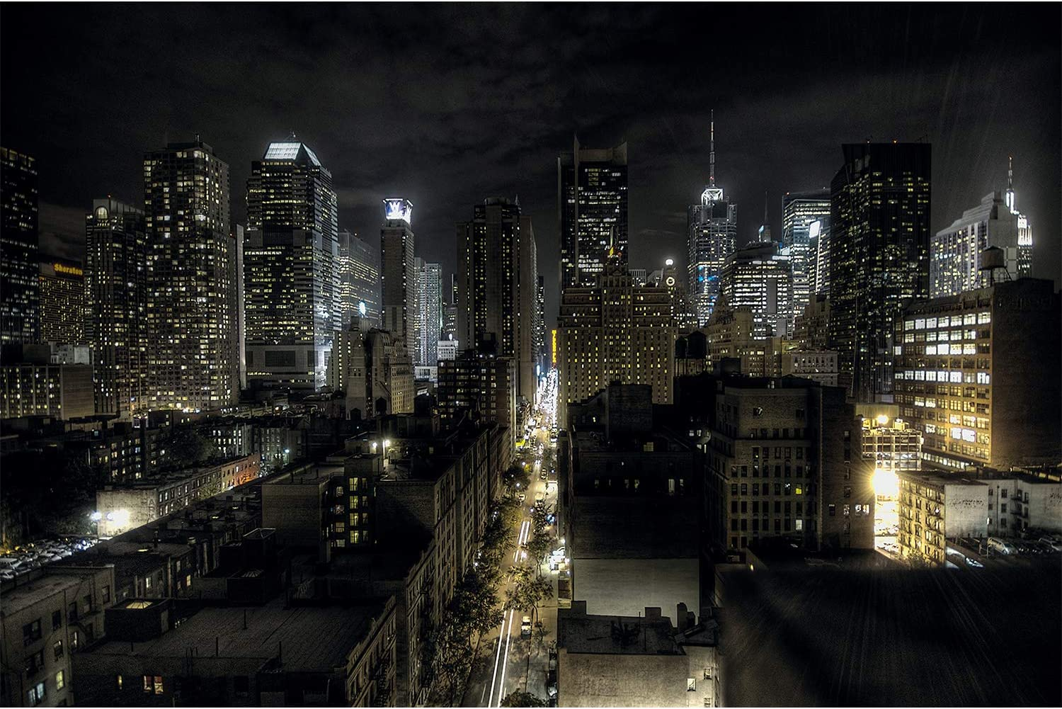 Amazon Com Great Art Photo Wallpaper Manhattan At Night Picture Decoration New York City American Metropolis Usa Nyc Illuminated Skyscrapers Image Decor Wall Mural 82 7x55 1in 210x140cm Prints Posters Prints