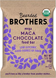 product image for Bearded Brothers Vegan Organic Energy Bar | Gluten Free, Paleo and Whole 30 | Soy Free, Non GMO, Low Glycemic, Packed with Protein, Fiber + Whole Foods | Maca Chocolate | 12 Pack