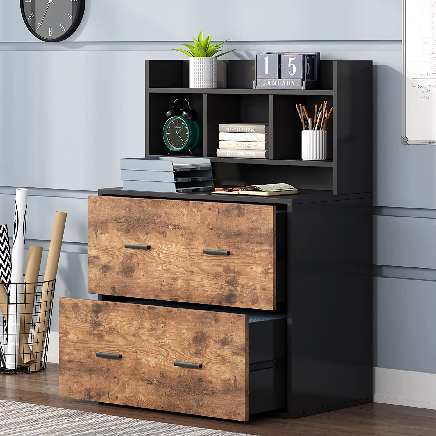 Tribesigns Large 2 Drawers File Cabinet, Wood Lateral Filing Cabinet with Storage Shelf, Modern Large Office Storage Cabinet for Letter Size or Hanging File Folders, Home office Cabinet,Black & Rustic
