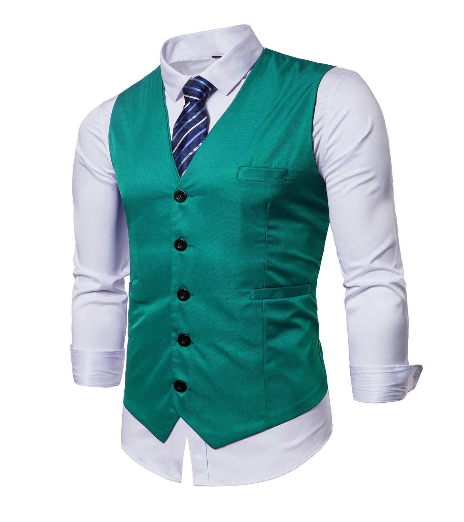 AOQ Men's Casual Slim Fit Business Suit Vests Waistcoat for Suit or Tuxedo