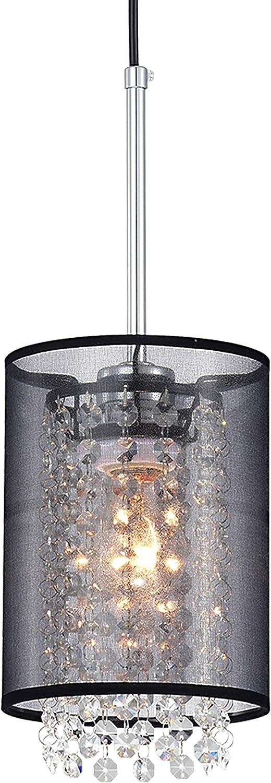 Black Mini Chandeliers 1-Light Modern Crystal Chandelier Lights Cylinder Net Yarn Shade