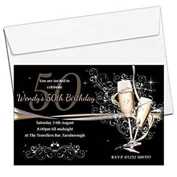 10 Personalised Gold Champagne 18th 21st 30th 40th 50th 60th Adult Birthday Party Invitations N183