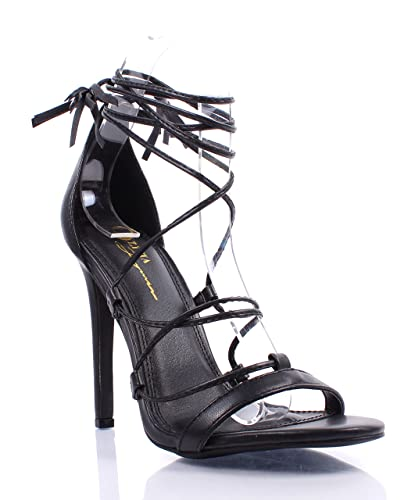 850aada6802 Sexy Stiletto Adjustable Lace Up Mid-Calf Strappy Padded Insoles Womens High  Heels Shoes (