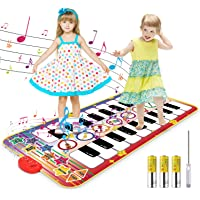 Kids Musical Mat, 20 Keys Double-Keyboard Musical Piano Mat with 3AA Batteries and Screwdriver 8 Instruments Sounds…
