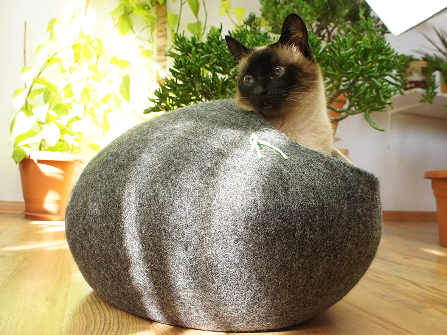 Grey Cat House, Bed, Cave. Handmade. Ecological Sheep Wool. Size XL (Extra Large) (Grey)