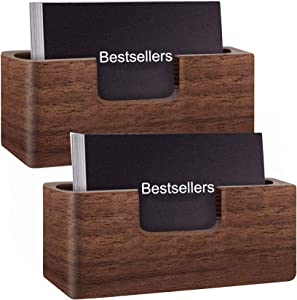 Lawei 2 Pack Business Card Holder for Desk - Wood Desktop Business Card Stand Business Card Display Holder for Office, Tabletop