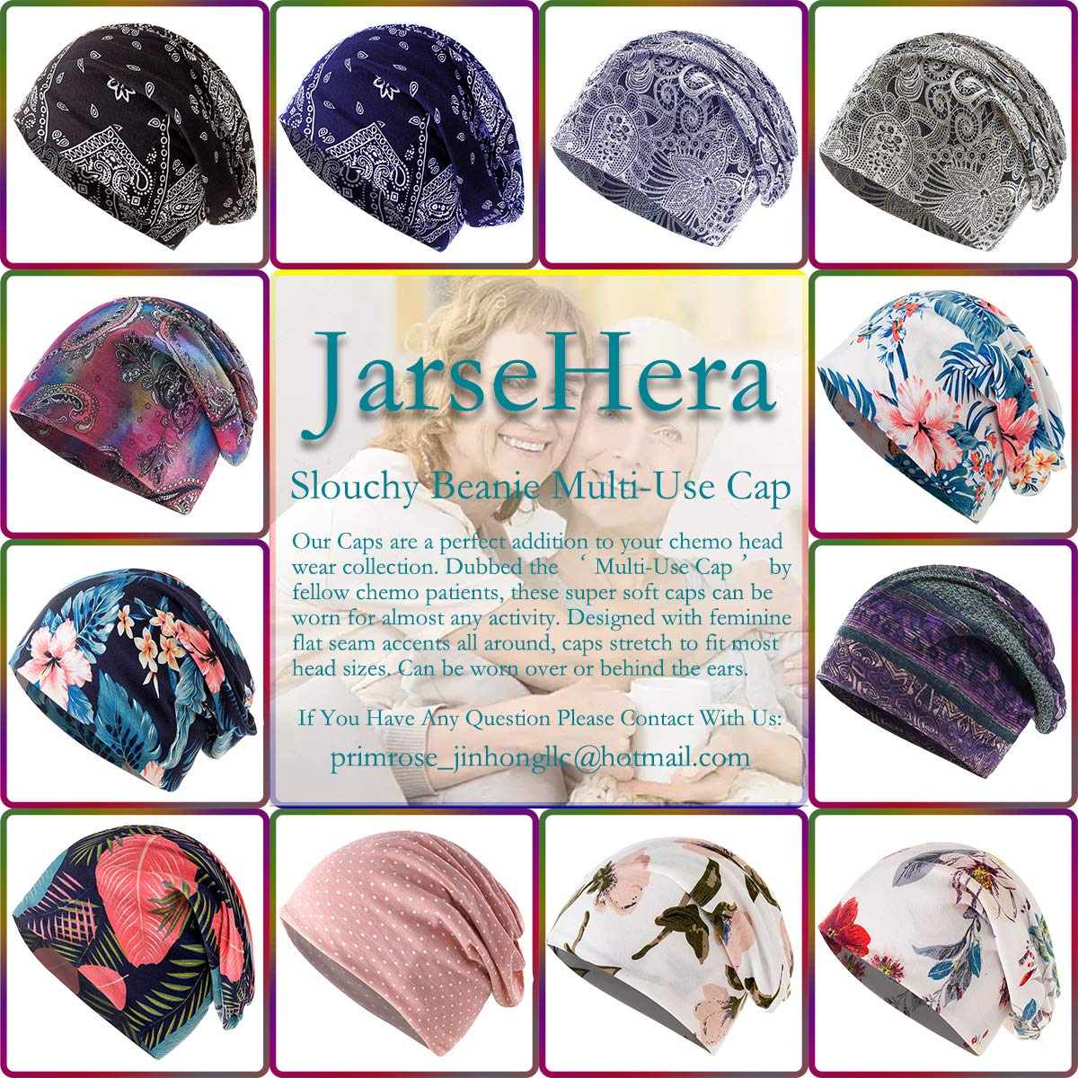 JarseHera Chemo Caps for Women Slouchy Beanie Casual Headcovers Both Open for