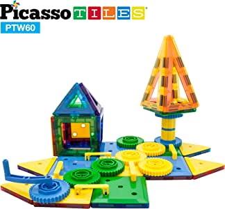 PicassoTiles PTW60 2-in-1 60pcs 3D Magnetic Tile & Gear Spinning Wheel Learning STEM Building Toy Magnet Construction Toy Educational Engineering Playset w/ Wheel, Geer, Magnetic Tiles for Preschool