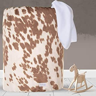 product image for Glenna Jean Large Laundry Basket, Collapsible, Storage Bin, Nursery for Baby Boys & Girls,CowAnimal Print for Boys & Girls,Tan/White