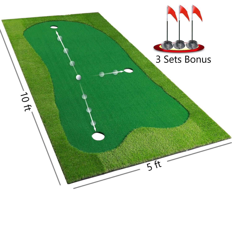 BOBURACN Golf Putting Green Mat-Golf Training Mat- Professional Golf Practice Mat- Green Long Challenging Putter for Indoor Outdoor