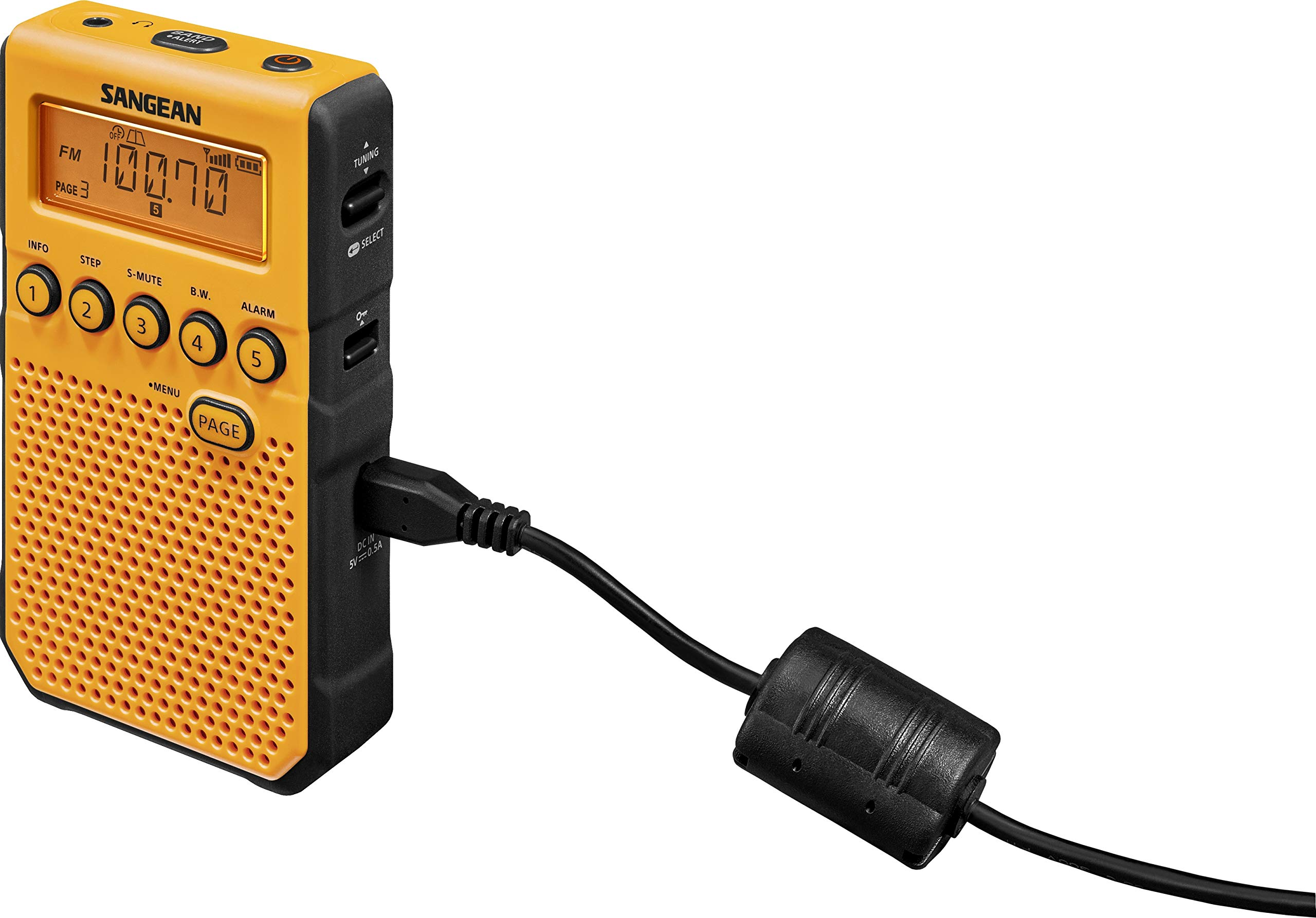 Sangean DT-800YL AM / FM / NOAA Weather Alert Rechargeable Pocket Radio (Yellow) by Saugeen America, Inc. (Image #4)