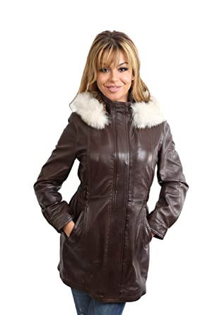 Ladies Fitted Parka Leather Jacket With Detachable Fur Hood Duffle