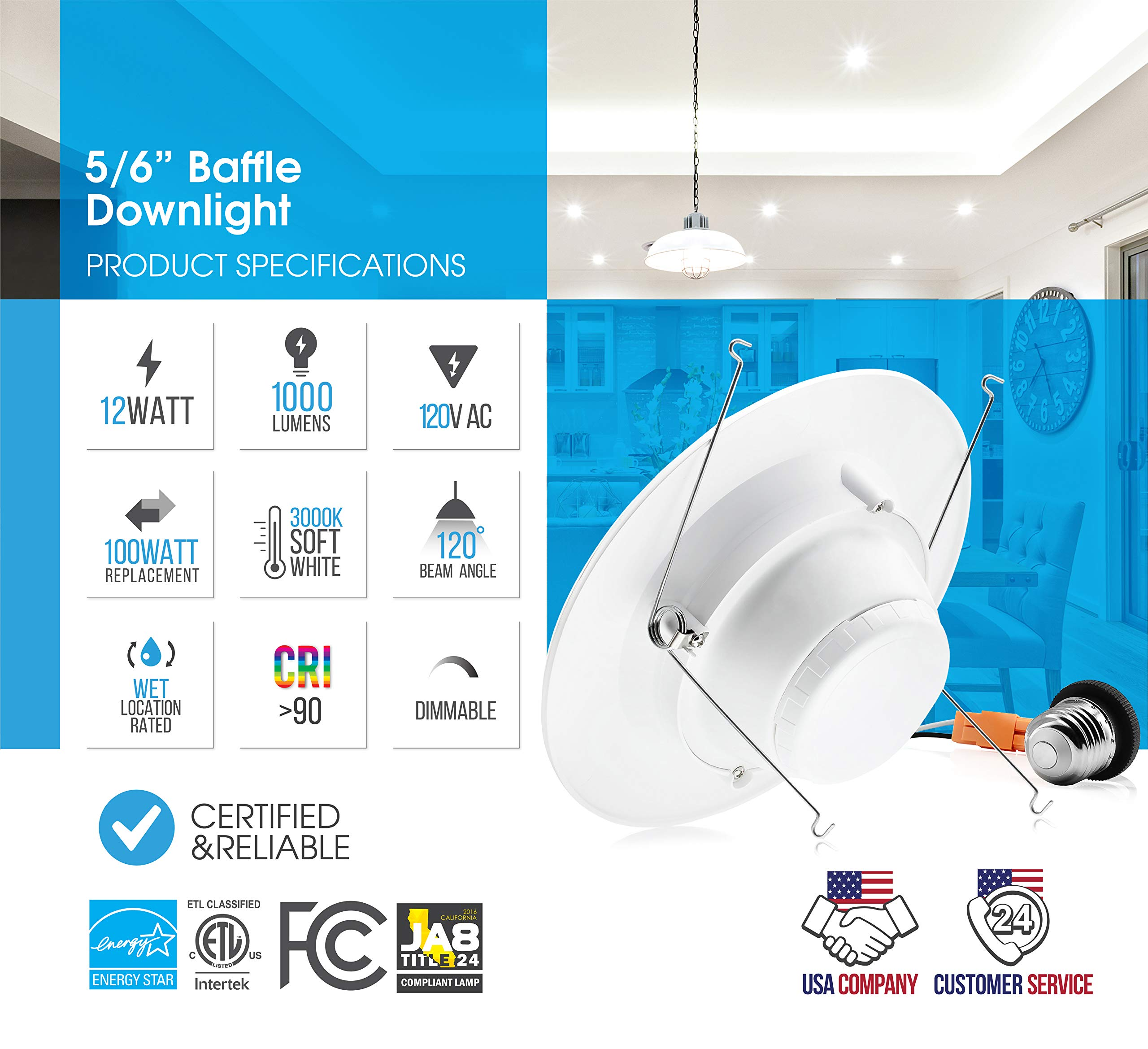Parmida (12 Pack) 5/6 inch Dimmable LED Downlight, 12W (100W Replacement), Baffle Design, Retrofit Recessed Lighting, Can Light, LED Trim, 3000K (Soft White), 1000lm, Energy Star & ETL by Parmida LED Technologies (Image #3)