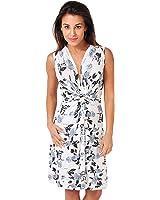 KRISP® Women Knot Front Dress Flower Printed Flare Ruched V Neck Elegant Casual