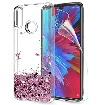 LeYi Funda Xiaomi Redmi 7 / S3 / Y3 Silicona Purpurina Carcasa con HD Protectores de Pantalla, Transparente Cristal Bumper Telefono Gel TPU Fundas ...
