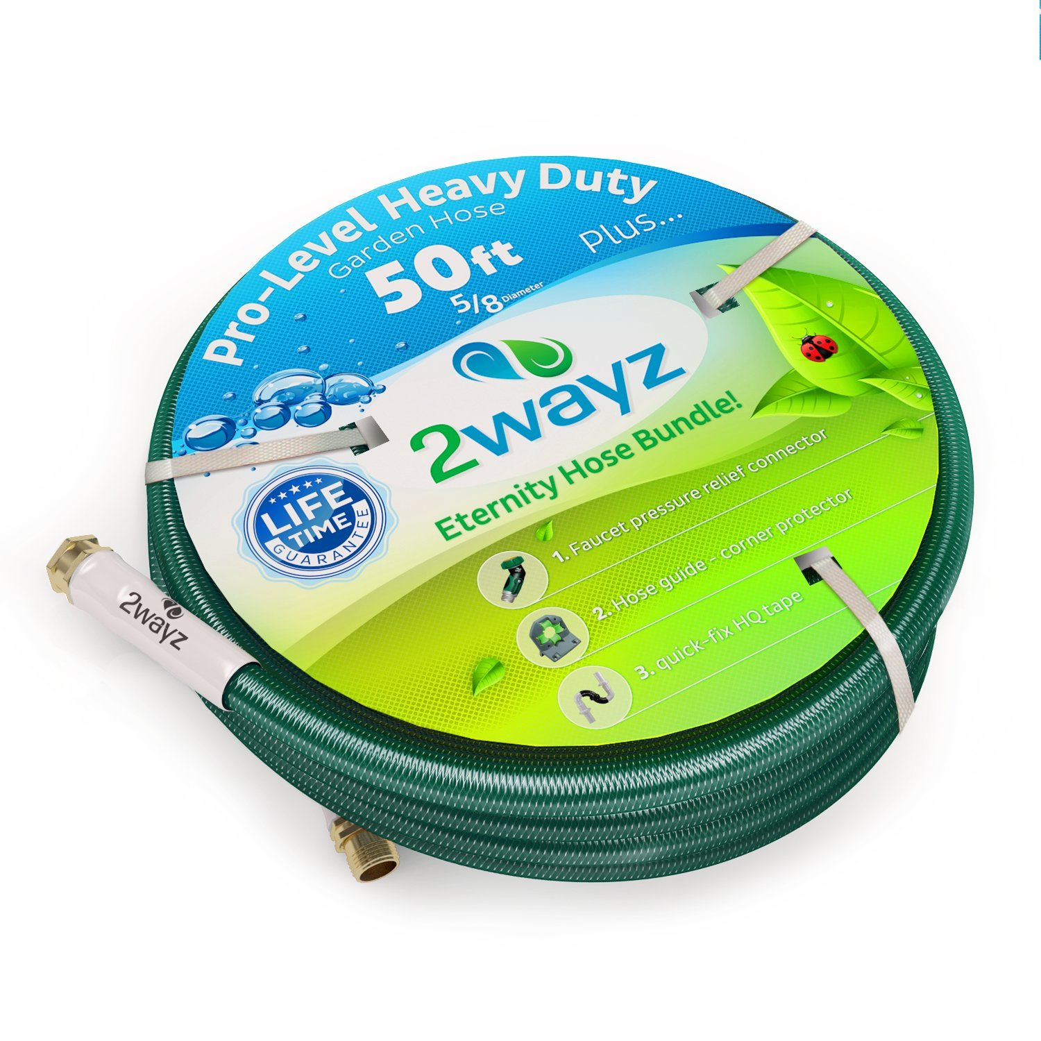 Amazon.com : 2wayz Garden Hose Bundle With 50 Feet Kink Free 5/8 Inch Water  Hose, 45 Degrees 3/4 Inch Connector, 5 Feet By 1 Inch Rescue Tape And 2  Wall And ...